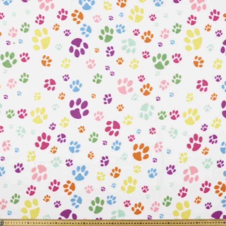 Bright Multi Paw Printed 148 cm Peak Polar Fleece Fabric