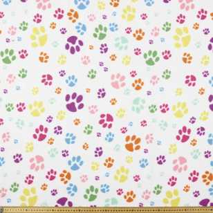 Bright Multi Paw Printed 148 cm Peak Polar Fleece Fabric