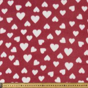 Love Heart Printed 148 cm Peak Polar Fleece Fabric