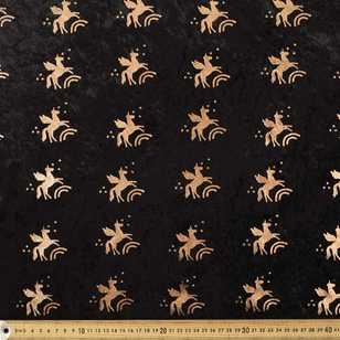 Unicorn Printed 148 cm Foil Panne Fabric