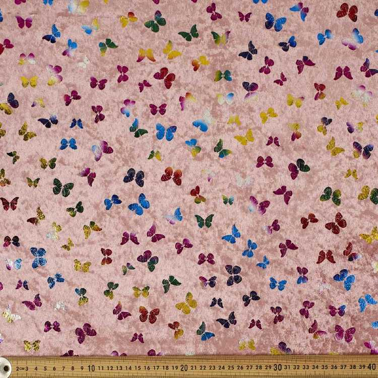 Butterfly Printed 148 cm Foil Panne Fabric Blush & Multicoloured 148 cm