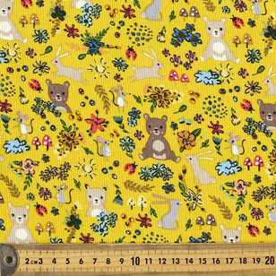 Furry Friends Printed 112 cm Pinwale Fabric