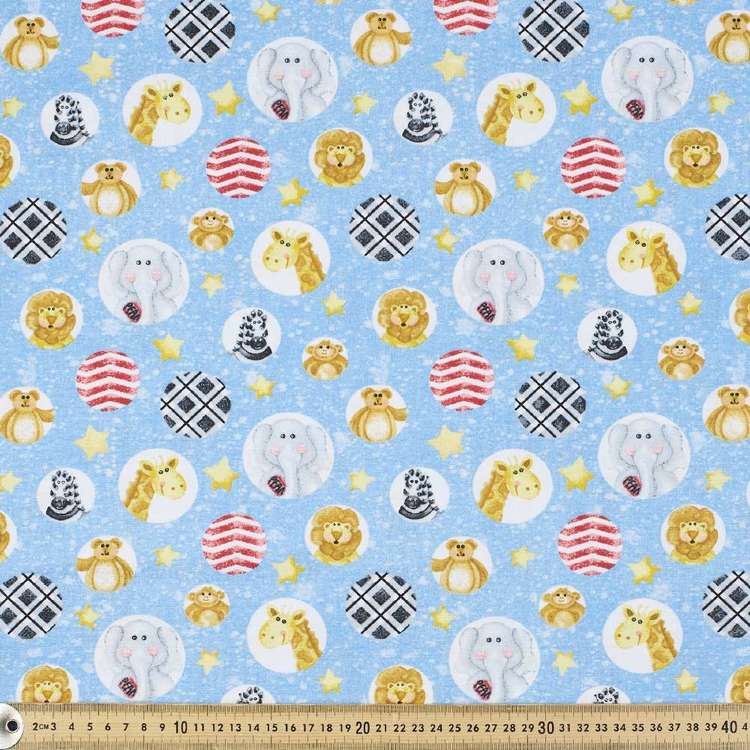 A E Nathan Zoo Baby Bubble Allover Cotton Fabric Blue 112 cm