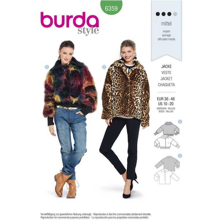 Burda Pattern 6359 Misses' Fur Coats