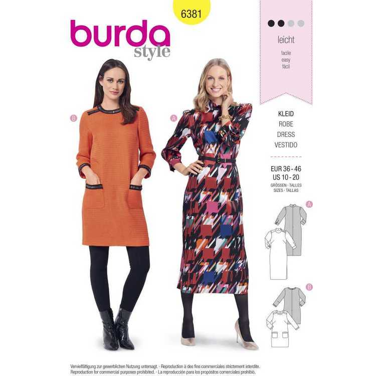 Burda Pattern 6381 Misses' Retro Dresses