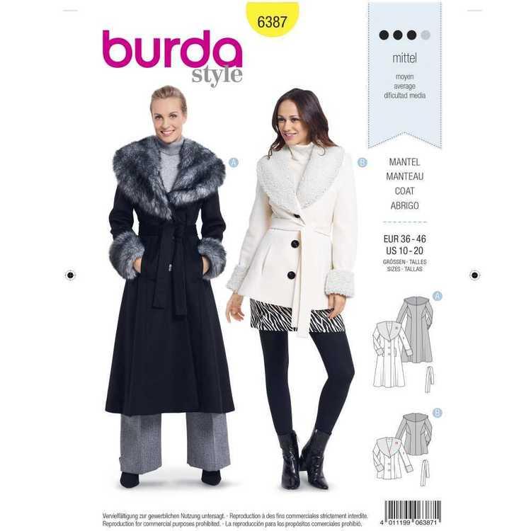 Burda Pattern 6387 Misses' Shawl Collar Coats