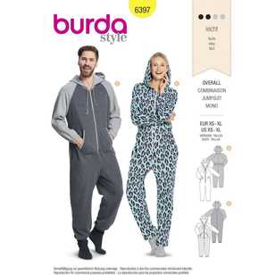Burda Pattern 6397 Unisex Hooded Jumpsuits