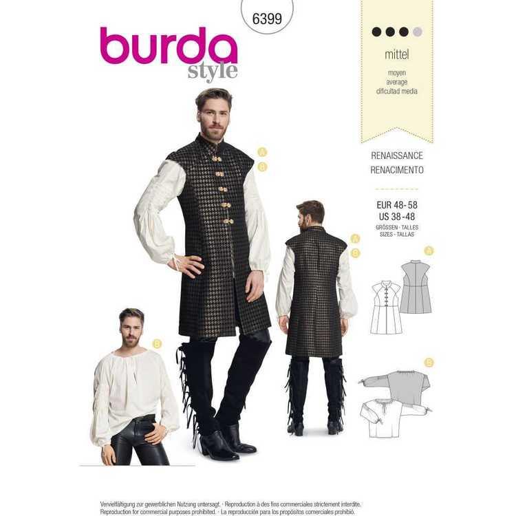 Burda Pattern 6399 Men's Renaissance Shirt & Waistcoat