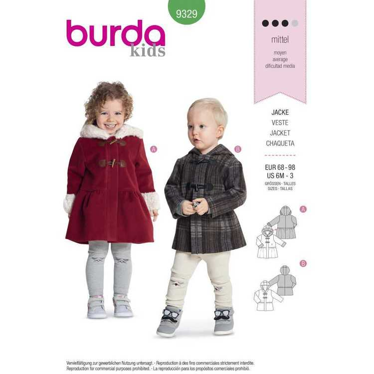 Burda Pattern 9329 Toddler's Coats
