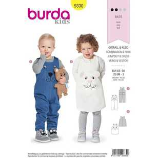 Burda Pattern 9330 Toddler's Suspender Pants & Pinafore