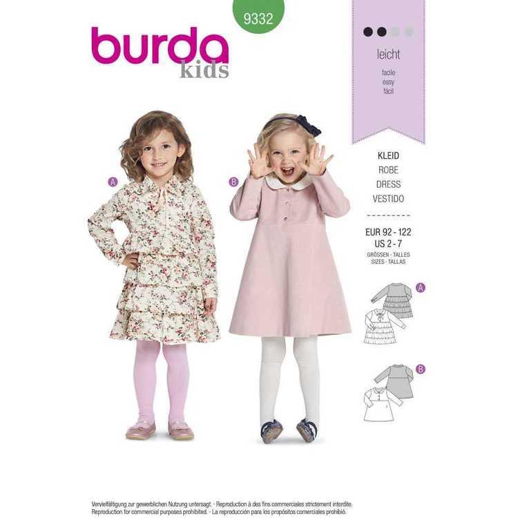 Burda Pattern 9332 Children's Dresses