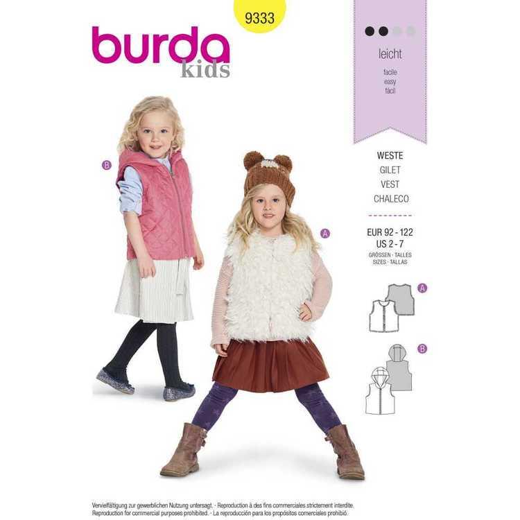 Burda Pattern 9333 Children's Fur Vests