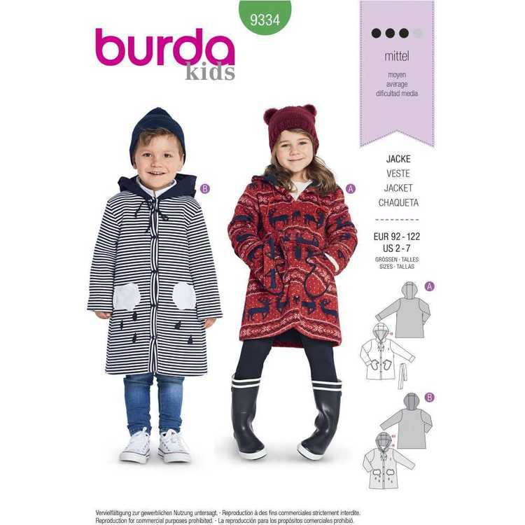Burda Pattern 9334 Children's Hooded Jackets