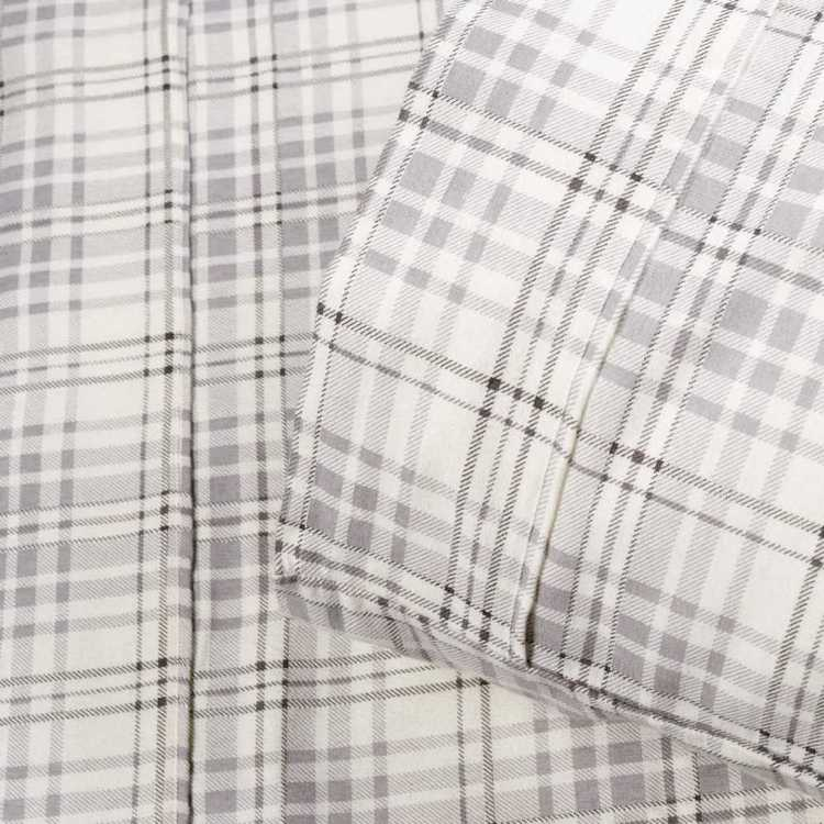 KOO Atticus Flannelette Sheet Set Grey Check