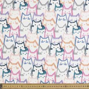 Cat Heads Printed 148 cm French Terry Fabric