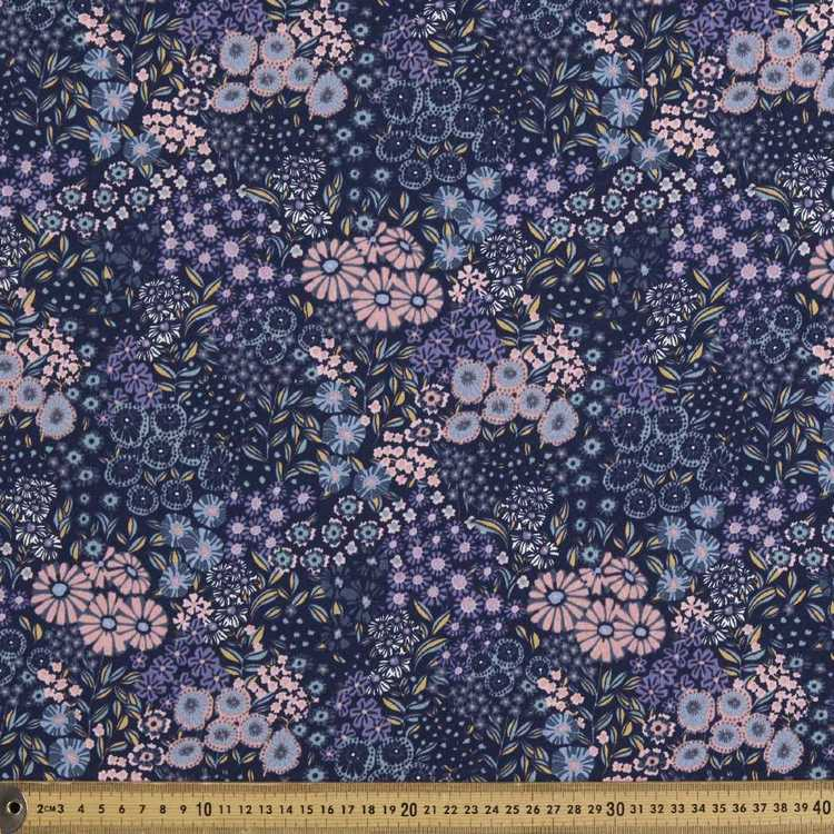 Floral Printed 148 Cm French Terry Fabric