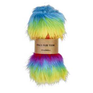 Shaggy Rainbow Faux Fur Trim