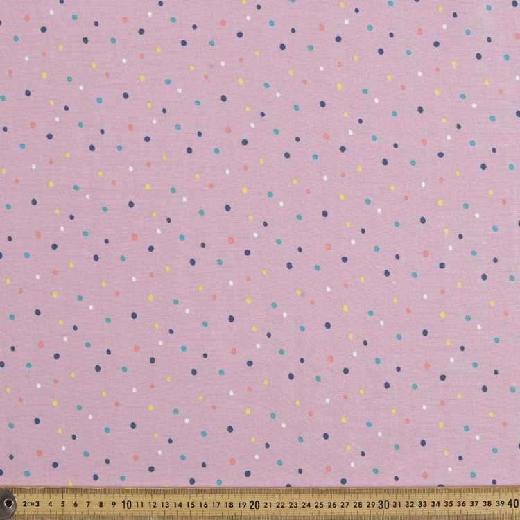 Spots Printed 148 cm French Terry Fabric Pink & Multicoloured 148 cm