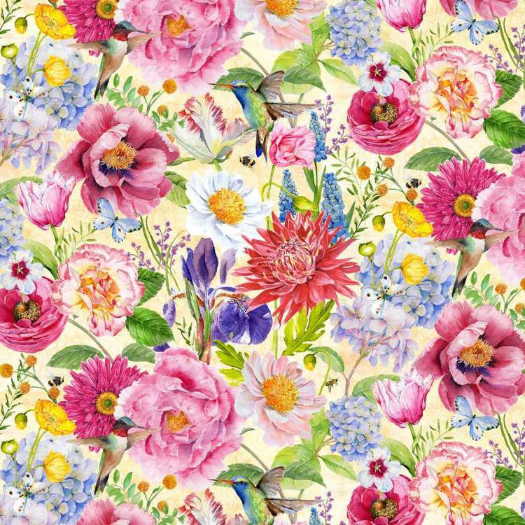 Studio E My Butterfly Garden Large Floral Cotton Fabric