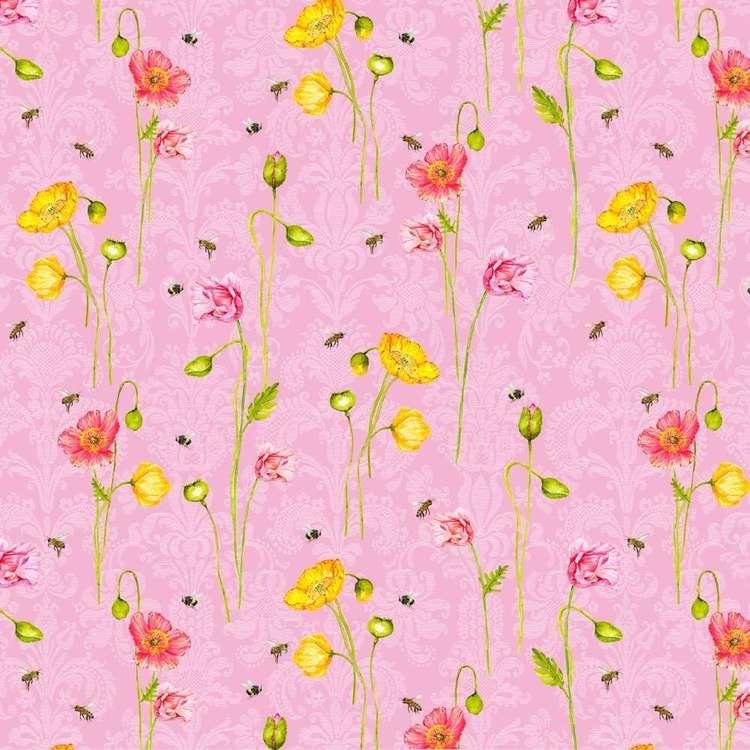 Studio E My Butterfly Garden Poppy Bee Cotton Fabric