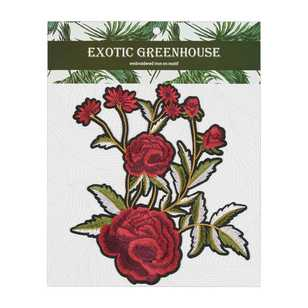 Exotic Greenhouse Rose Bunch Iron On Motif