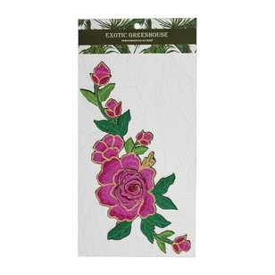 Exotic Greenhouse Rose Bouquet Iron On Motif