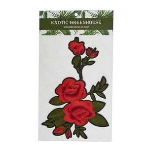 Exotic Greenhouse Roses & Bud Iron On Motif