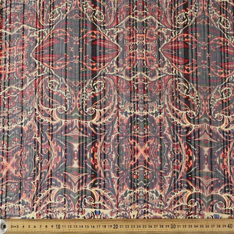 Striped Parsely Printed Dobby Lurex Chiffon Fabric