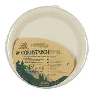 EcoSouLife Disposable Cornstarch Main Plate 20 Pack