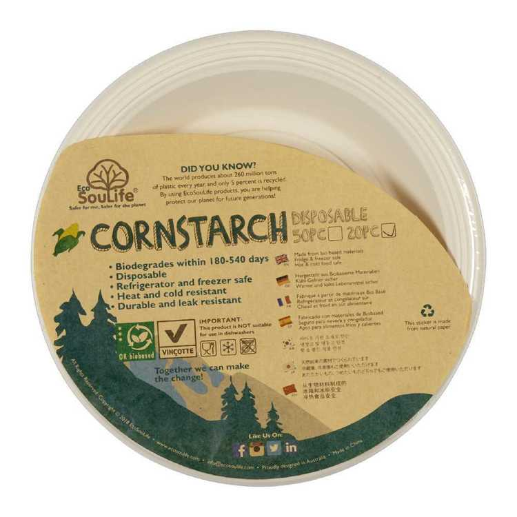 EcoSouLife Disposable Cornstarch Side Plate 20 Pack