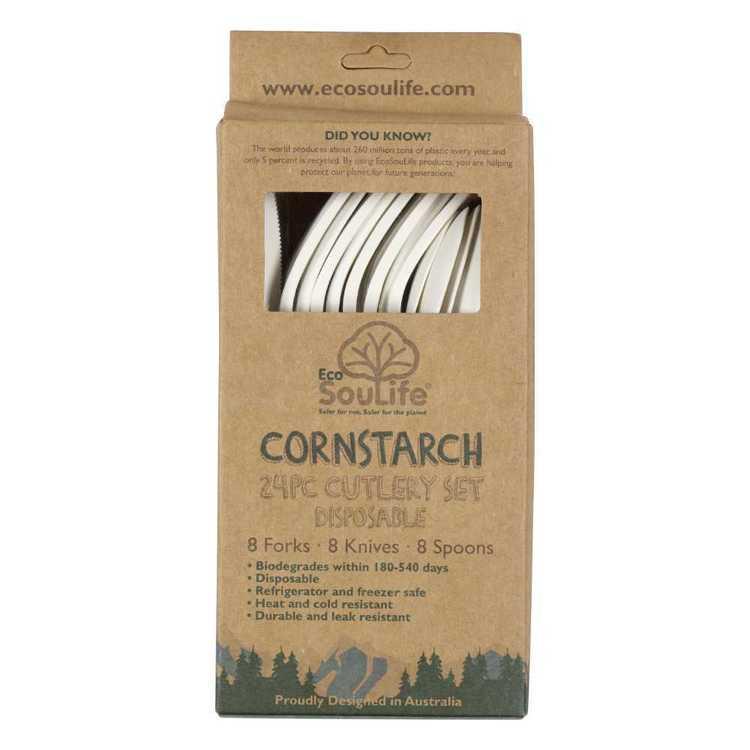 EcoSouLife 24 Piece Disposable Cornstarch Cutlery Set