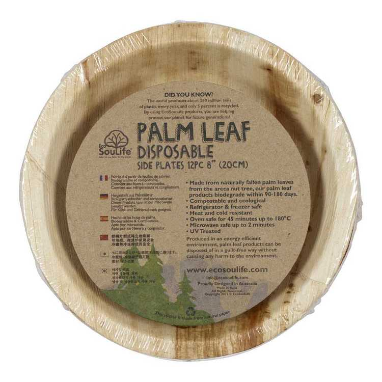 EcoSouLife Disposable Palm Leaf Side Plate 12 Pack