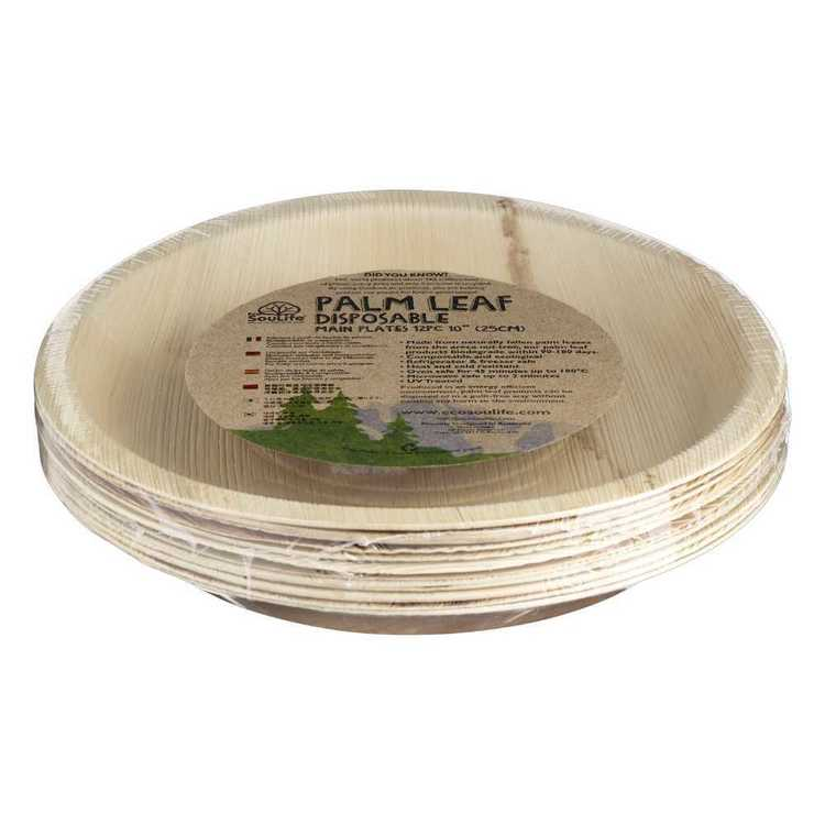 EcoSouLife Disposable Palm Leaf Main Plate 12 Pack