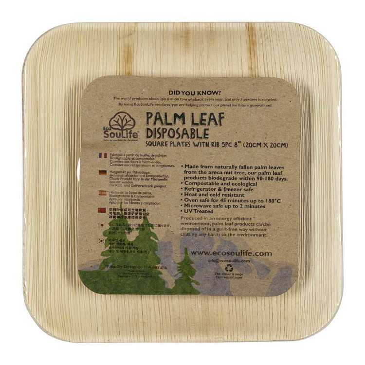 EcoSouLife Disposable Palm Leaf Ribbed Square Plate 5 Pack