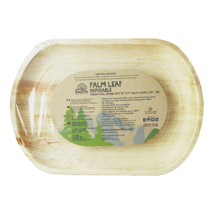 EcoSouLife Disposable Palm Leaf Medium Oval Serving Tray 3 Pack Natural