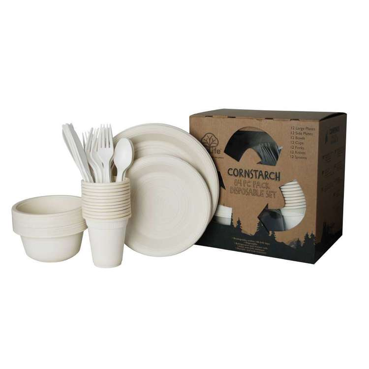 EcoSouLife Disposable Cornstarch 84 Piece Serve Pack Natural