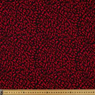 Printed Poly Crepe Red Abstract 148cm Fabric