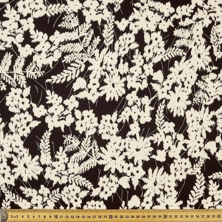 Printed Poly Crepe Cream Foliace 148cm Fabric