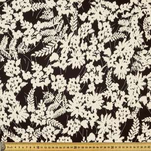 Printed Poly Crepe Cream Foliace 148cm Fabric