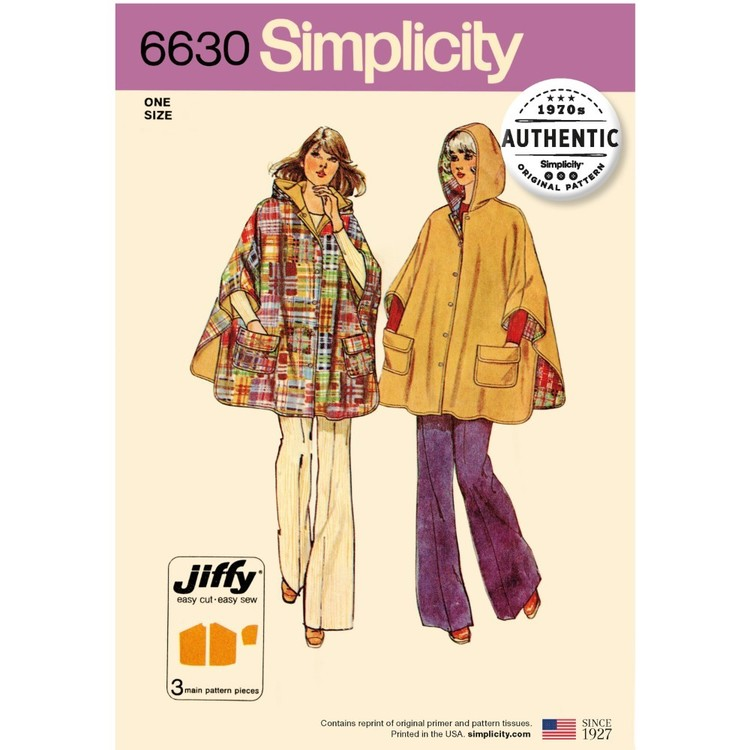 Simplicity Pattern 6630 Misses' Vintage 70S Jiffy Poncho