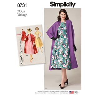 Simplicity Pattern 8731 Misses' Vintage Dress And Lined Coat