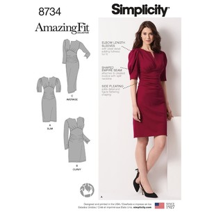 Simplicity Pattern 8734 Misses' & Women's Amazing Fit Dress