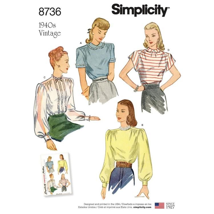 Simplicity Pattern 8736 Misses' Vintage Blouses