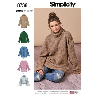 Simplicity Pattern 8738 Misses' Knit Mini Dress, Tunic Or Top