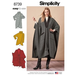 Simplicity Pattern 8739 Misses' Poncho And Topper