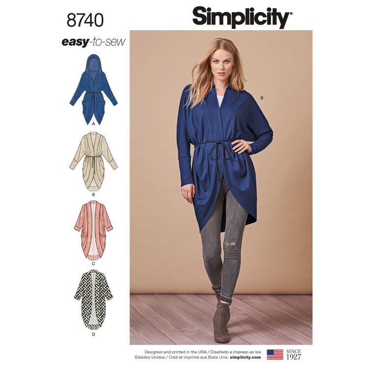 Simplicity Pattern 8740 Misses' Knit Cardigan