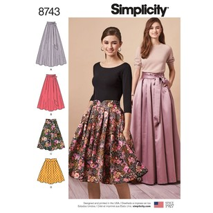 Simplicity Pattern 8743 Misses' Pleated Skirts