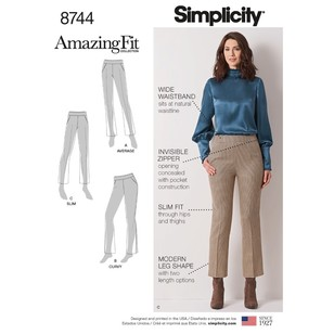 Simplicity Pattern 8744 Misses' & Women's Amazing Fit Pants