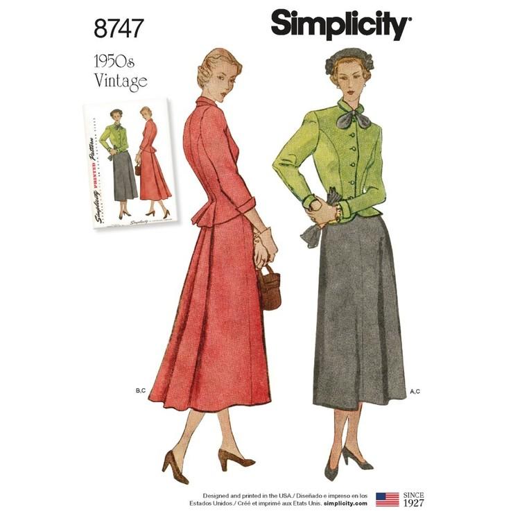 Simplicity Pattern 8747 Misses' Vintage Suit