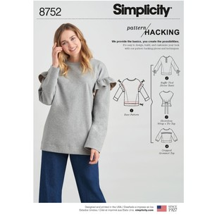 Simplicity Pattern 8752 Misses' Knit Tops With Options For Design Hacking